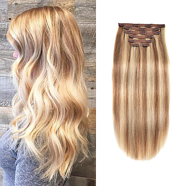 cheap Hair Extensions-Clip In Hair Extensions Remy Human Hair 7pcs 7 PCS Pack Straight Natural Hair Extensions