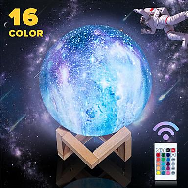 billige Smartlamper-3d print fargerik endring stjerne månelys 16 farger berøringssensor månelampe usb led malt natt galakse lampe hjem soveromsdekor
