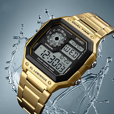 olcso Ékszerek&Karórák-férfi digitális többfunkciós órák kettős idő riasztás stopper visszaszámlálás háttérvilágítás vízálló óra rózsa arany (rózsa arany)