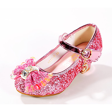 cheap Kids' Shoes-Girls' Heels Flower Girl Shoes / Tiny Heels for Teens / Halloween Synthetics Dress Shoes Kids / Teenager Bowknot / Buckle Blue / Pink / Gold Spring / Fall / Party & Evening / Rubber