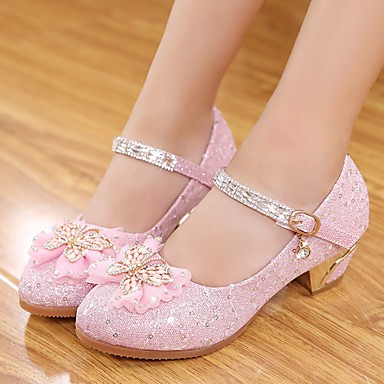 cheap Kids' Shoes-Girls' Heels Flower Girl Shoes Leather Little Kids(4-7ys) / Big Kids(7years +) Walking Shoes Sequin Pink Spring / Fall