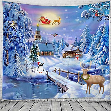 cheap Wall Tapestries-Christmas Santa Claus Holiday Party Wall Tapestry Art Decor Blanket Curtain Picnic Tablecloth Hanging Home Bedroom Living Room Dorm Decoration Elk Snow Gift Polyester