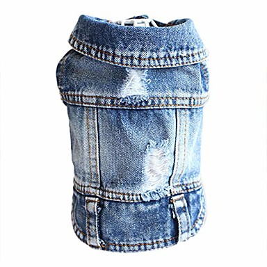 cheap Dog Clothes-dog jeans puppy jacket cat clothes pet costume small and medium dog cool coat blue hoodies(xs)