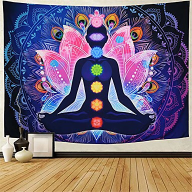 "cheap Wall Tapestries-seven chakra tapestry yoga meditation wall tapestry colorful mandala tapestry indian hippie chakra tapestry wall hanging for studio room & #40;h51.2""× w59.1""& #41;"