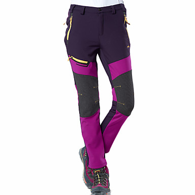 cheap Camping, Hiking & Backpacking-Women's Hiking Pants Softshell Pants Winter Outdoor Thermal Warm Waterproof Windproof Breathable Fleece Pants / Trousers Bottoms Purple Army Green Dark Gray Camping / Hiking Hunting Fishing S M L XL