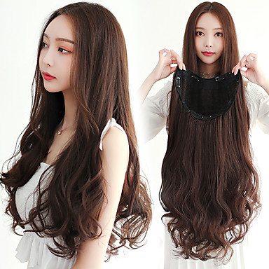 cheap Hair Extensions-Human Hair Lace Wig Curly Synthetic Hair 22 inch Hair Extension Clip In Green 1 pc Easy to Carry Women Easy dressing Women's Daily Wear Date Street