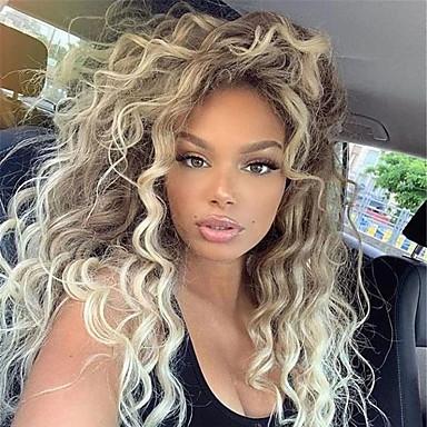 billige Parykker & hair extensions-Syntetiske parykker Krøllet Vand Bølge Mellemdel Paryk Lang Blond Syntetisk hår 26 inch Dame Sej Fluffy Blond