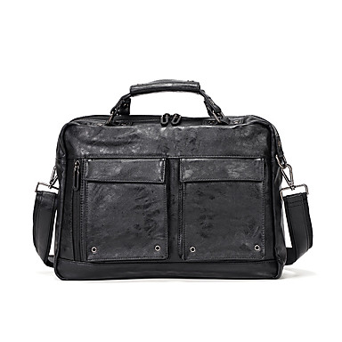 cheap Briefcases-Men's Bags PU Leather Laptop Bag / Briefcase / Top Handle Bag Belt Zipper for Office & Career Black