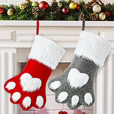cheap Storage & Organization-2 pieces christmas pet stocking dog stocking personalized pet stocking for christmas fireplace tree decorations & #40;gray red dog paw& #41;
