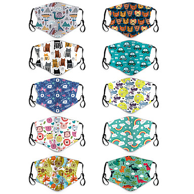 abordables Protection personnelle-2 pièces masque de dessin animé pour enfants PM2.5 masque anti-poussière et anti-smog crochet d'oreille masque lavable pour bébé