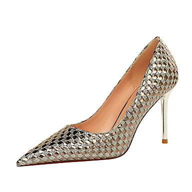 cheap Women's Heels-Women's Heels Stiletto Heel Pointed Toe Sexy Party & Evening Sequin Color Block Braided PU Champagne / Silver