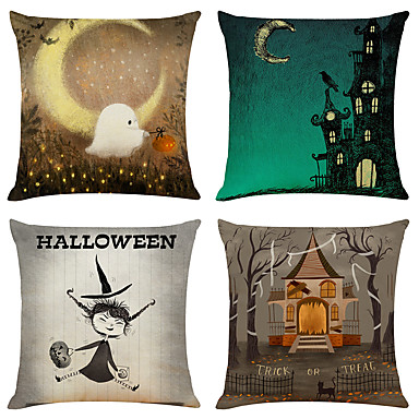 cheap Throw Pillow Covers-Halloween Party Halloween Decor Horror Ghost 1 Set of 4 pcs Halloween Series Decorative Linen Throw Pillow Cover for Halloween Gift Home Decoration,18 x 18 inches 45 x 45 cm