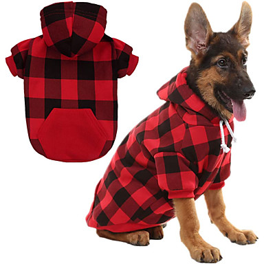 cheap Dog Clothes-Dog Cat Sweater Hoodie Plaid / Check Classic Style Christmas Casual / Daily Winter Dog Clothes Warm Blue Red Costume Cotton S M L XL