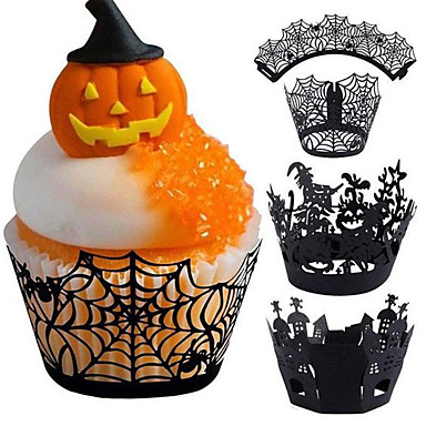 cheap Spooky Kitchen-Halloween Party Halloween Sweet Pots 12 Pcs/Set Cupcake Wrappers Sweet Pots Cake Paper Cups Halloween Party Decorations