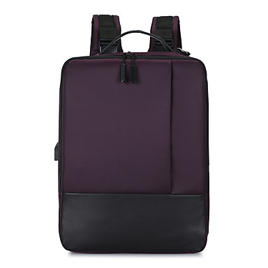 cheap Men's Bags-Large Capacity / Waterproof Commuter Backpack Unisex Nylon Zipper Solid Color Daily Black / Purple / Brown