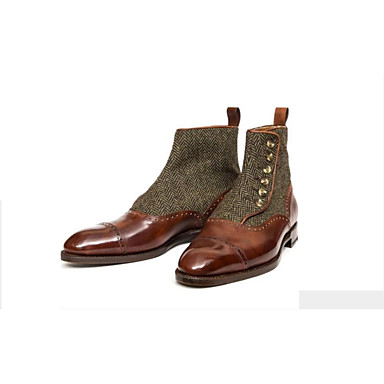 billige Herresko-Herre Støvler Demonia støvler Arbejdsstøvler Romersk sko Daglig PU Sort / Rød / Brun Efterår / Vinter