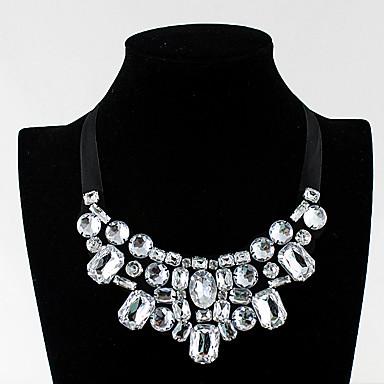 olcso Méretes nyakláncok-Női Nyilatkozat nyakláncok Darabos Luxus Hamis gyémánt Ötvözet Fehér 60 cm Nyakláncok Ékszerek Kompatibilitás Diákbál Születésnapi buli