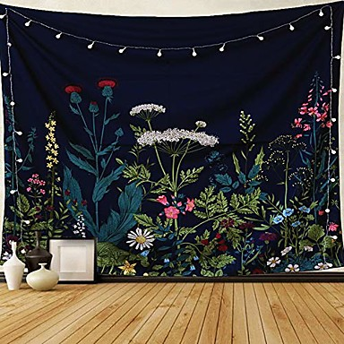 """cheap Landscape Tapestries-dark blue tapestry floral plants tapestry wall hanging herbs tapestry wild flowers wall tapestry nature scenery tapestry for bedroom, dorm. 59""""x51"""""""