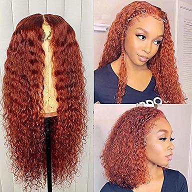 billige Parykker og hair extensions-13x6 varm oransje rød krøllete blonder foran parykker menneskehår pre plukket med babyhår 150% tetthet limløs brasiliansk jomfru hår legendarisk farget kinky krøllete blonder parykk for svarte kvinner