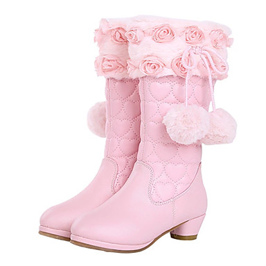 cheap New Arrivals-Girls' Boots Rain Boots / Snow Boots / Combat Boots Leather / Faux Fur Rain Boots Little Kids(4-7ys) / Big Kids(7years +) Walking Shoes Rhinestone / Bowknot / Sequin Black / Pink Fall / Winter
