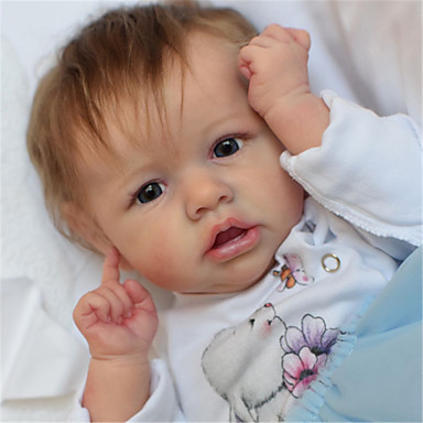 cheap Reborn Doll-22 inch Reborn Doll Baby & Toddler Toy Reborn Baby Doll Saskia lifelike Hand Made Simulation Hand Applied Eyelashes Floppy Head Cloth Silicone Vinyl with Clothes and Accessories for Girls' Birthday