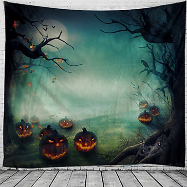 cheap Wall Tapestries-Halloween Wall Tapestry Art Decor Blanket Curtain Picnic Tablecloth Hanging Home Bedroom Living Room Dorm Decoration Psychedelic Pumpkin Haunted Scary Polyester