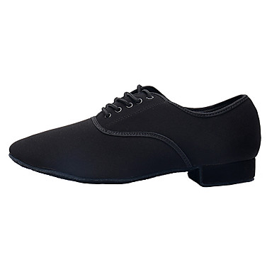 cheap Men's Dance Shoes-Men's Latin Shoes Heel Thick Heel Polyester Black