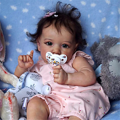 cheap Dolls, Playsets & Stuffed Animals-22 inch Reborn Doll Baby & Toddler Toy Baby Girl Reborn Baby Doll Saskia lifelike Hand Made Simulation Hand Applied Eyelashes Floppy Head Cloth Silicone Vinyl with Clothes and Accessories for Girls