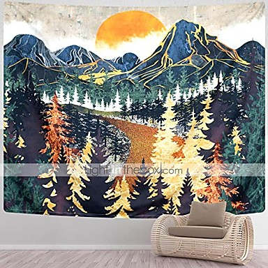 cheap Landscape Tapestries-mountain tapestry wall hanging forest trees art tapestry sunset tapestry road in nature landscape home decor for room & #40;70.9 x 92.5 inches& #41;