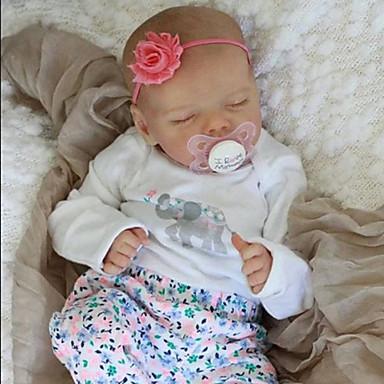 Χαμηλού Κόστους Παιχνίδια-17 inch Κούκλες σαν αληθινές Παιχνίδι για Μωρό & Νήπιο Μωρά Κορίτσια Αναγεννημένη κούκλα μωρών όμοιος με ζωντανό Χειροποίητο Προσομοίωση Χειροποίητες βλεφαρίδες Κεφαλής δισκέτας / Κινούμενα άκρα