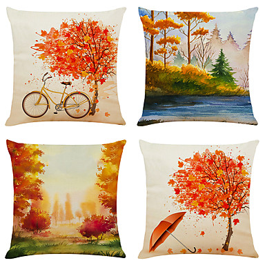 cheap Decorative Pillows-Set of 4 Full Of Autumn Linen Square Decorative Throw Pillow Cases Sofa Cushion Covers 18x18