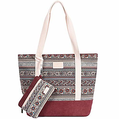 cheap Bag Sets-canvas boho tote bag for women shoulder hobo purse beach handbags work school travel shopping pack (maroon)