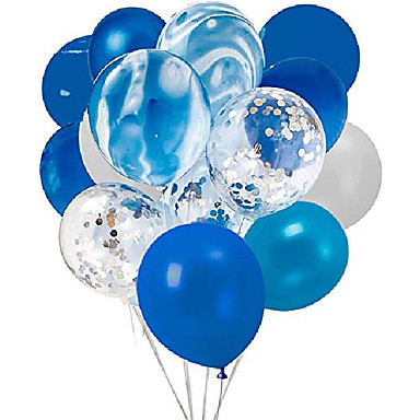 cheap Balloons-confetti latex balloons, 20pcs blue and sliver biodegradable party balloon for wedding decoration