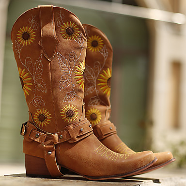 cheap Women's Boots-Women's Boots Cowboy Western Boots Chunky Heel Pointed Toe Vintage Daily Flower Floral Embroidery Sunflower Faux Leather Mid-Calf Boots Walking Shoes Winter Light Yellow / Light Brown / Dark Brown