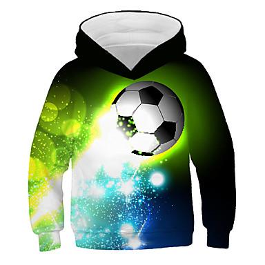 cheap Baby & Kids-Kids Boys' Active Streetwear 3D Graphic Print Long Sleeve Hoodie & Sweatshirt Green