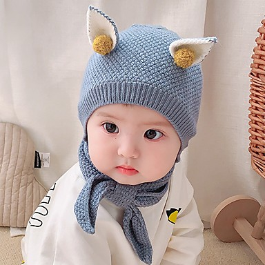cheap Kids' Accessories-2pcs Newborn Girls' Basic Blue / Red Solid Colored Polyester Hats & Caps / Scarves Blue / Red / Yellow One-Size