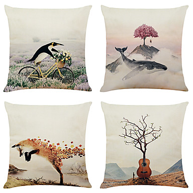 cheap Decorative Pillows-Set of 4 Creative Decorative Painting Linen Square Decorative Throw Pillow Cases Sofa Cushion Covers 18x18