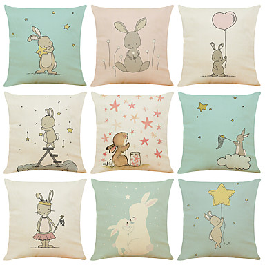 cheap Decorative Pillows-Set of 9 Cute Rabbit Linen Square Decorative Throw Pillow Cases Sofa Cushion Covers 18x18