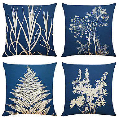 cheap Decorative Pillows-Set of 4 Simple Art Plant Linen Square Decorative Throw Pillow Cases Sofa Cushion Covers 18x18