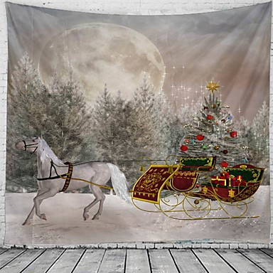 cheap Wall Tapestries-Christmas / Classic Theme Wall Decor 100% Polyester Classic / Fantasy Wall Art, 150*100 cm Decoration