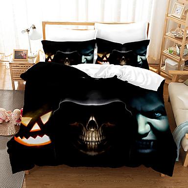 cheap Duvet Covers-3D Digital Print Halloween Duvet Cover Set, Happy Halloween Pumpkins Night Cat Image, Decorative 2/3 Piece Bedding Set with 1 or 2 Pillow Shams, Queen King Size