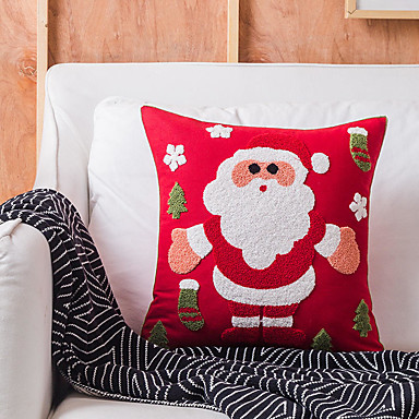 cheap Decorative Pillows-Christmas Style Snowflake Embroidery Santa Claus Elk Home Office Pillow Case Cover Living Room Bedroom Sofa Cushion Cover