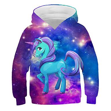cheap Baby & Kids-Kids Girls' Active Streetwear 3D Graphic Print Long Sleeve Hoodie & Sweatshirt Rainbow