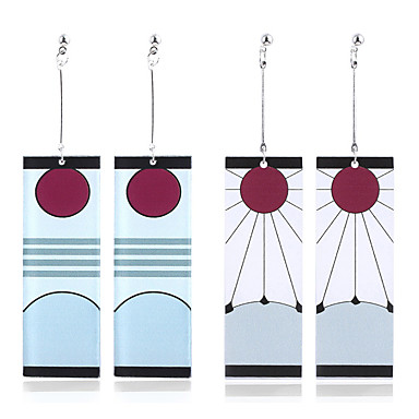 billige Damesmykker-tanjiro øreringer Hanafuda øredobber demon slayer cosplay kimetsu no yaiba tanjiro cosplay anime øreringer (pin b) hvit