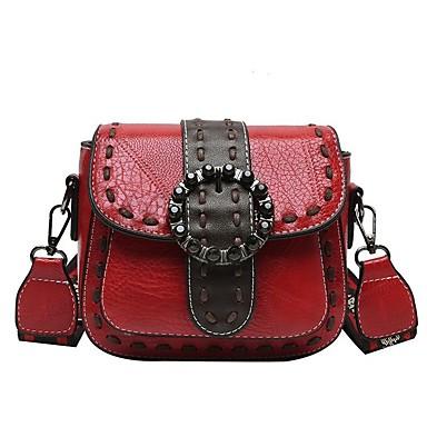 cheap Crossbody Bags-Women's Bags PU Leather Crossbody Bag Zipper Embossed for Daily Dark Brown / Black / Red / Dark Green