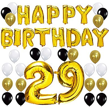 """cheap Balloons-80th birthday party decorations kit - happy birthday balloon banner, number """"80"""" balloon mylar foil, black gold white latex ballon, perfect 80 years old party supplies"""