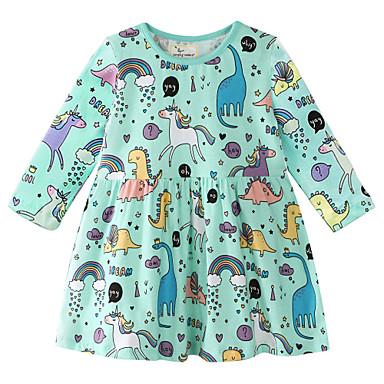 cheap Baby & Kids-Kids Girls' Sweet Dinosaur Geometric Print Long Sleeve Above Knee Dress Rainbow