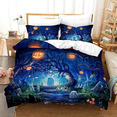 cheap Duvet Covers-3D Digital Print Halloween Duvet Cover Set, Happy Halloween Pumpkins Night Cat Image, Decorative 2/3 Piece Bedding Set with 1 or 2 Pillow Shams, Queen King Size