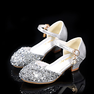 cheap Flower Girl Shoes-Girls' Heels Moccasin / Flower Girl Shoes / Princess Shoes Patent Leather / PU Little Kids(4-7ys) / Big Kids(7years +) Walking Shoes Rhinestone / Sparkling Glitter / Buckle Silver Spring / Fall
