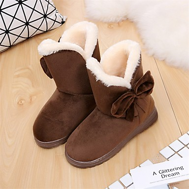 cheap Women's Boots-Women's Boots Flat Heel Round Toe Casual Daily Satin Flower Solid Colored Nubuck Booties / Ankle Boots Black / Brown / Beige